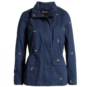 Madewell Navy Flower Embroidered Passage Jacket